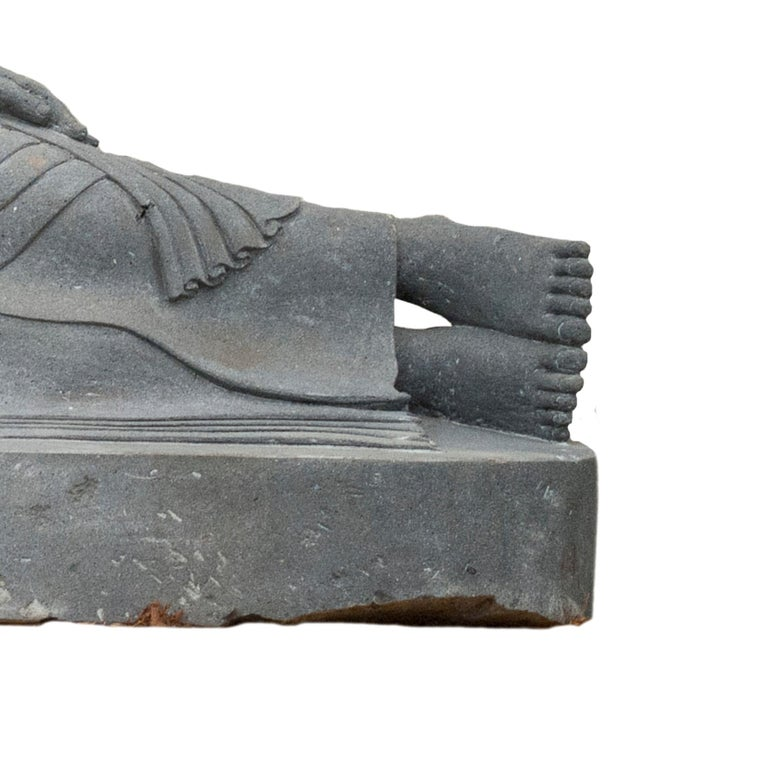 Hand-Carved 20th Century Garden Statue of a Lava Stone Reclining Buddha