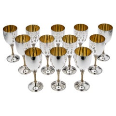 20th Century Garrard & Co Solid Silver Set of 12 Goblets, Anthony Elson, c.1977