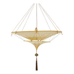 20th Century Geometric Silk Pendant Lamp by Fortuny