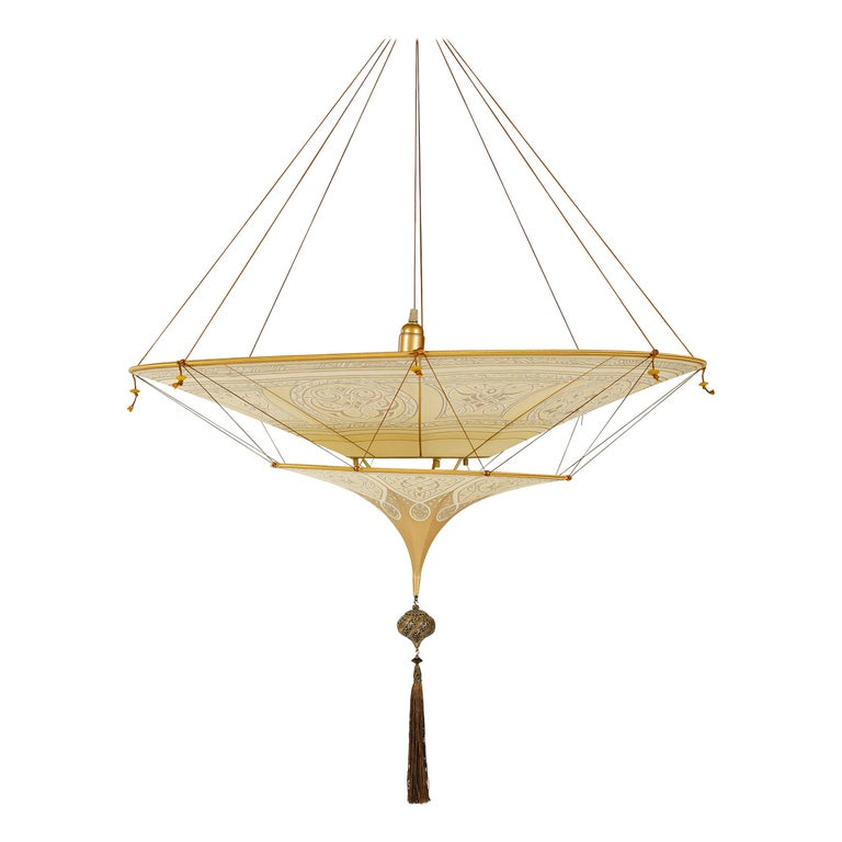 20th Century Geometric Silk Pendant Lamp by Fortuny For Sale