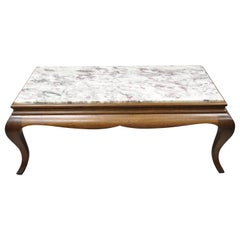 20th Century Georgian Hollywood Regency Mahogany Frame Marble-Top Coffee Table