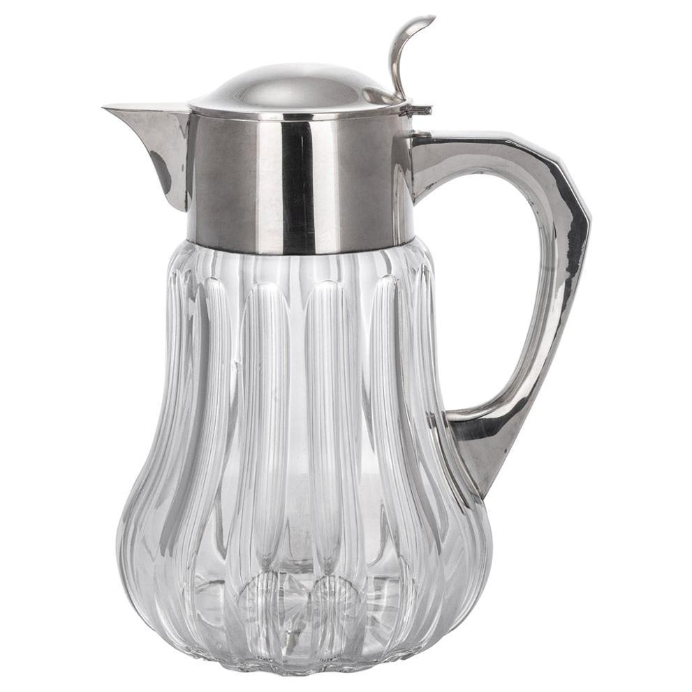 20th Century German Art Deco Solid Silver & Cut Glass Lemonade Jug, c.1920