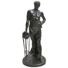 20th Century German Bronze Figure of a Man Mucius Scaevola by Wilhelm Kumm