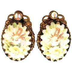 20th Century German Pair Of Gold Plate & Hand Painted Porcelain Earrings