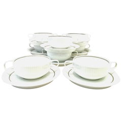20th Century German Porcelain Cream Soup Cup and Saucer Set of 8 by Rosenthal