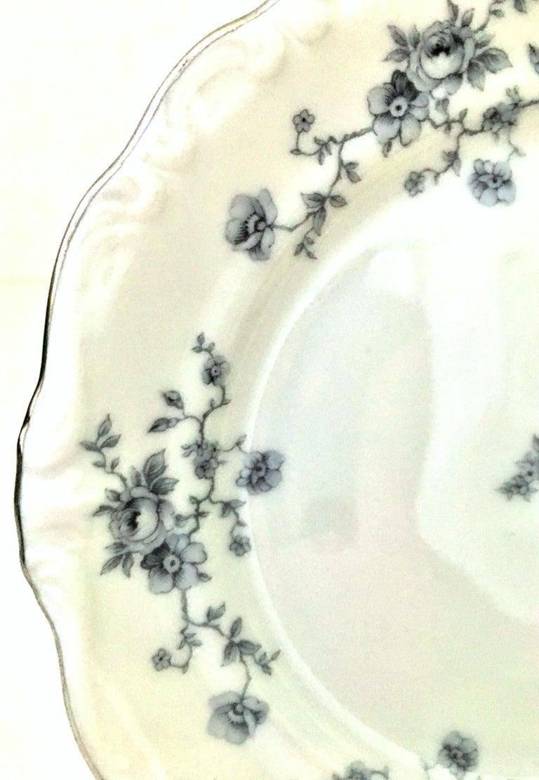 20th Century German Porcelain & Platinum Dinnerware Set of 18 by Johann Haviland For Sale 4