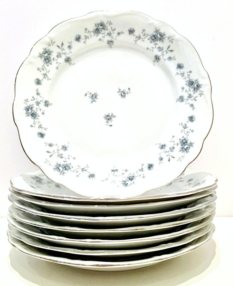 20th Century German Porcelain & Platinum Dinnerware Set of 21 by Johann Haviland For Sale 3