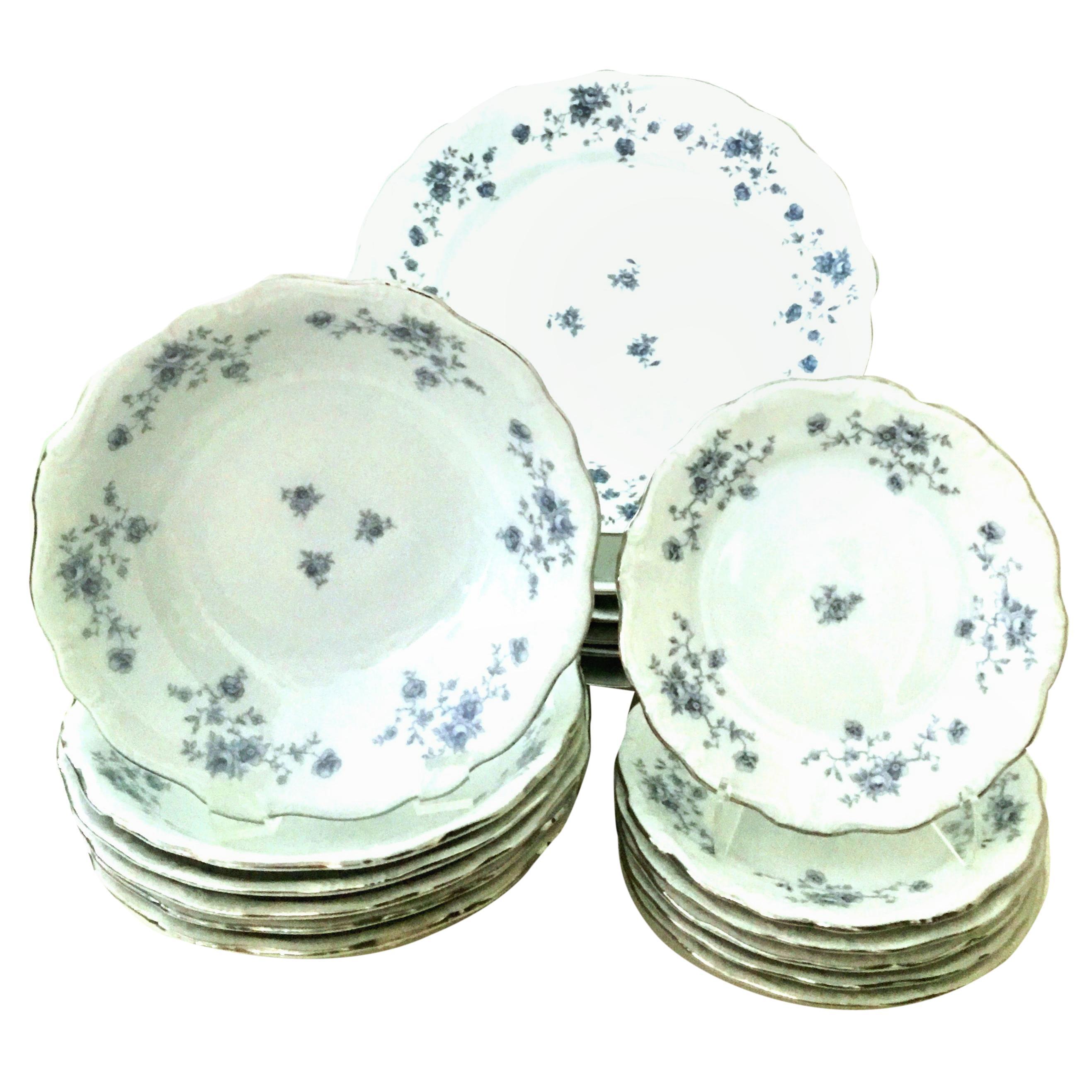 20th Century German Porcelain & Platinum Dinnerware Set of 18 by Johann Haviland