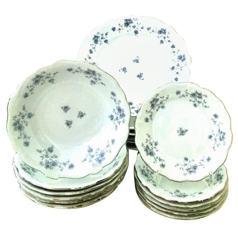 20th Century German Porcelain & Platinum Dinnerware Set of 18 by Johann Haviland For Sale