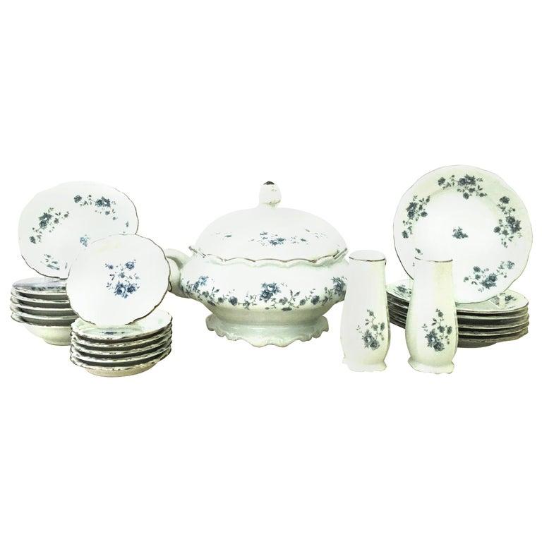 20th Century German Porcelain & Platinum Dinnerware Set of 21 by Johann Haviland For Sale