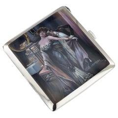 20th Century German Silver & Enamel Cigarette Case, Luis Usabal, circa 1910