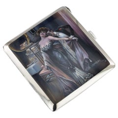 20th Century German Silver and Enamel Cigarette Case, Luis Usabal, circa 1910