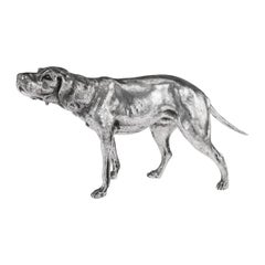 20th Century German Solid Silver Statues Of A Shorthaired Pointer c.1910