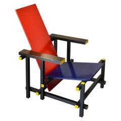 20th Century Gerrit Rietveld Armchair Model 635 Red and Blue for Cassina in Wood