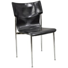 20th Century Giancarlo Vegni for Fasem Black Saddle Leather Chrome Side Chair
