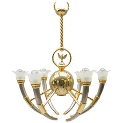 20th Century Gilded Brass and Glass Flowers Chandelier, 1970s