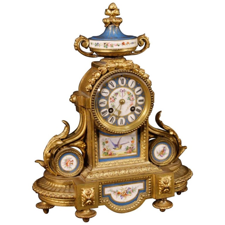20th Century Gilded Bronze and Brass with Painted Ceramic French Clock, 1950 For Sale