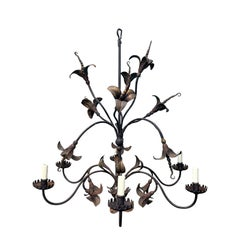 20th Century Gilded Iron Six-Arm Chandelier with Lilies