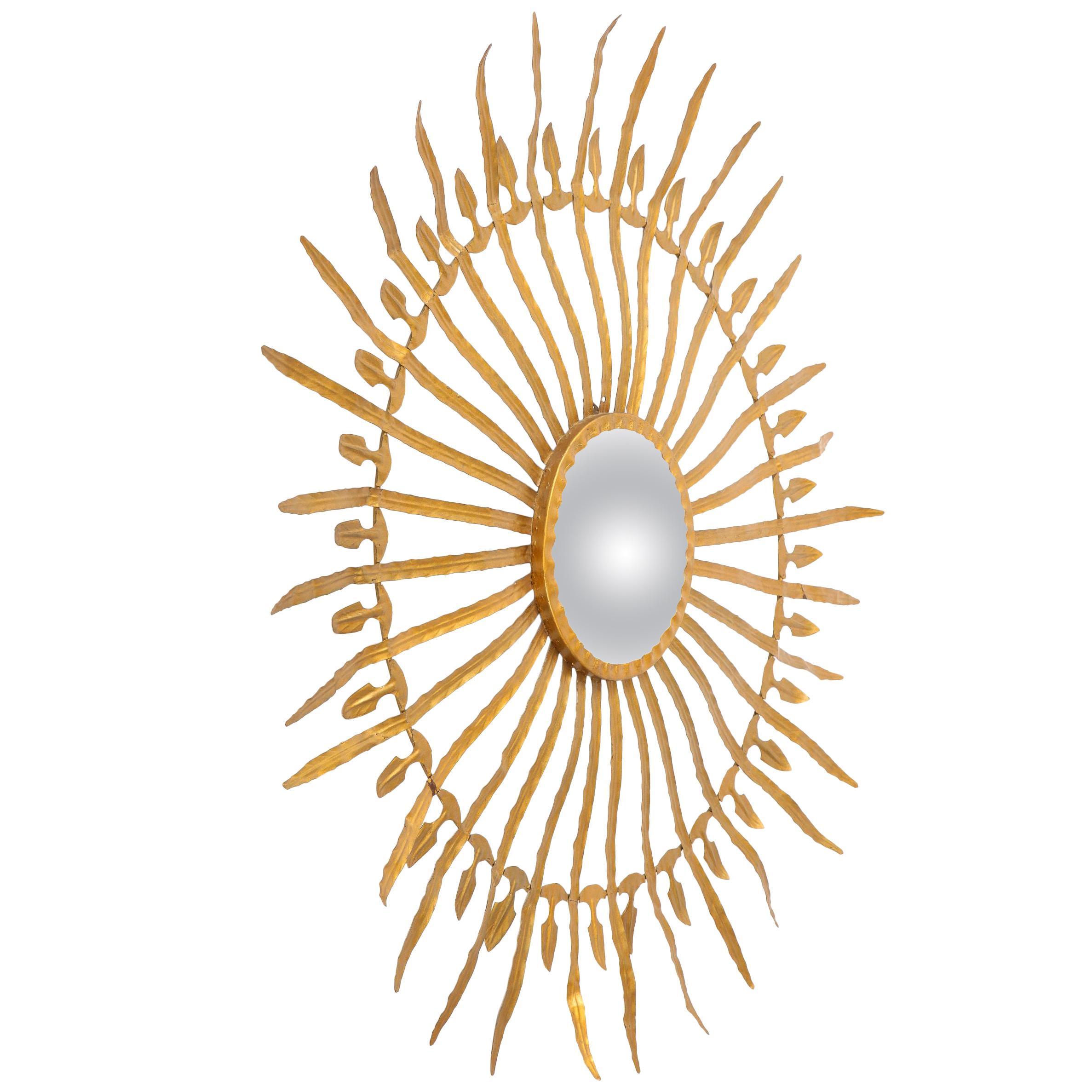 20th Century Gilded Sunburst Tole Mirror