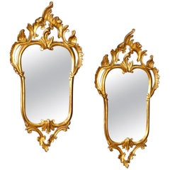 20th Century Gilded Wood Pair of Venetian Mirrors, 1980