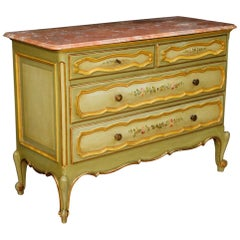 20th Century Gilt and Painted Wood with Marble Top Italian Dresser, 1970