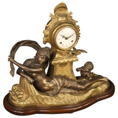 20th Century Gilt Bronze and Antimony French Table Clock, 1930