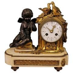 20th Century Gilt Bronze, Brass, Metal and Marble Italian Clock, 1920