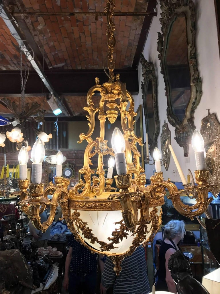 20th Century Gilt Bronze Chandelier in Louis XVI Style For Sale 1