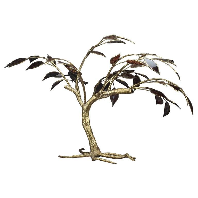 20th Century Gilt Bronze Tree Sculpture For Sale