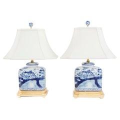 20th Century Gilt Wood Porcelain Pair Lamp