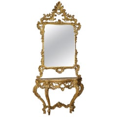 20th Century Giltwood with Marble-Top French Louis XV Style Console with Mirror