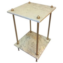 20th century Gifted Brass and Marble Top Side Table, 1950s