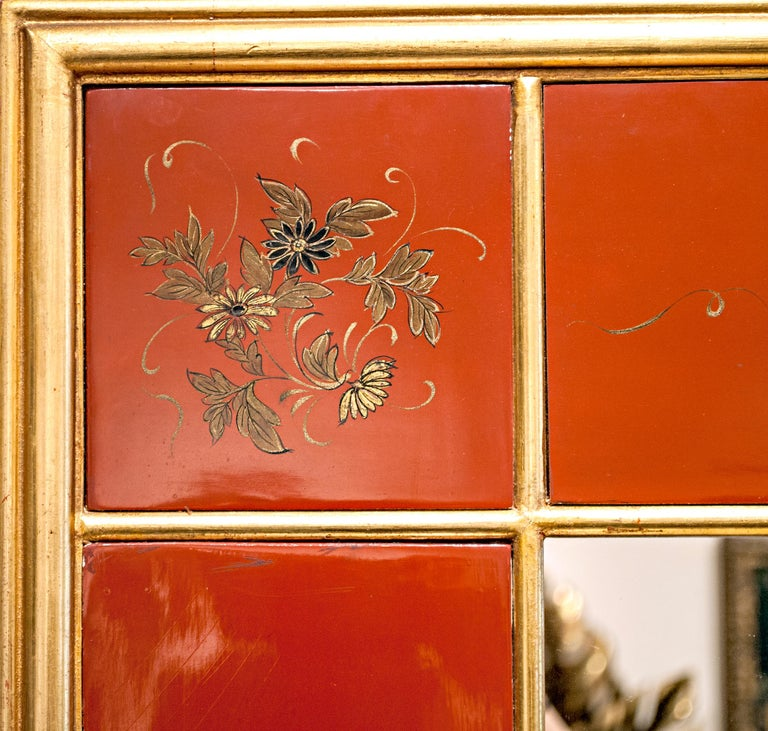 French 20th Century Giltwood and Red Japanned Mirror by Maison Jansen For Sale