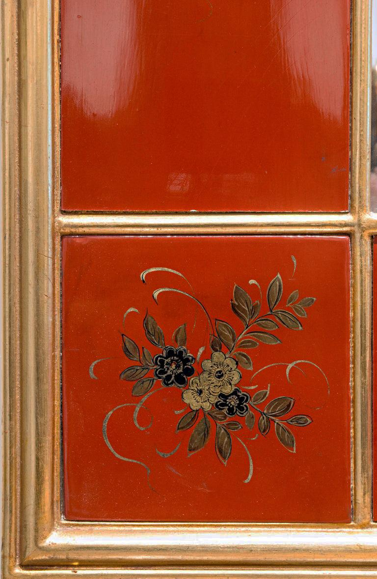 20th Century Giltwood and Red Japanned Mirror by Maison Jansen For Sale 1