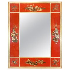 20th Century Giltwood and Red Japanned Mirror by Maison Jansen