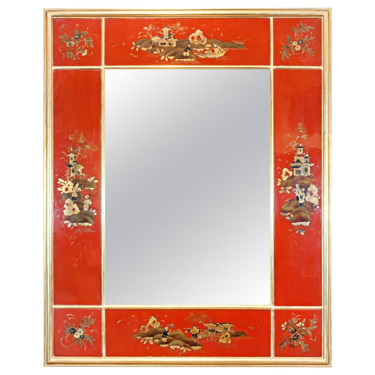 20th Century Giltwood and Red Japanned Mirror by Maison Jansen For Sale