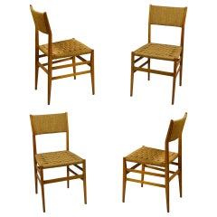 20th Century Gio Ponti 4 Chairs Leggera for Cassina Woven Rope and Wood