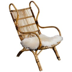 20th Century Gio Ponti Armchair Continuum Bonacina Hand-Bent Rattan Structure