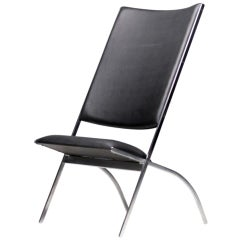 Giò Ponti Gabriela Lounge Chair in Black Faux Leather Pallucco Production