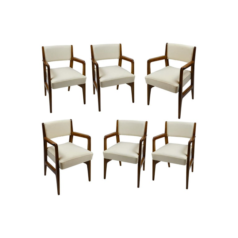 Set of six chairs designed by Gio Ponti and produced for Cassina in 1950s. These chairs were specially designed for the