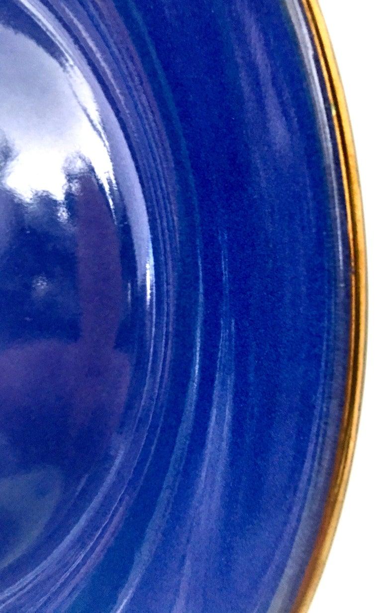 20th Century Givenchy Paris Porcelain Cobalt Enamel & 22k Gold Bowl For Sale 1