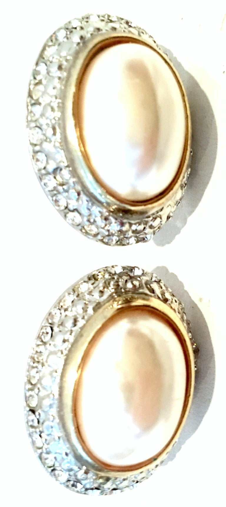 Women's or Men's 20th Century Givenchy Style Pair Of Austrian Crystal & Faux Pearl Earrings For Sale