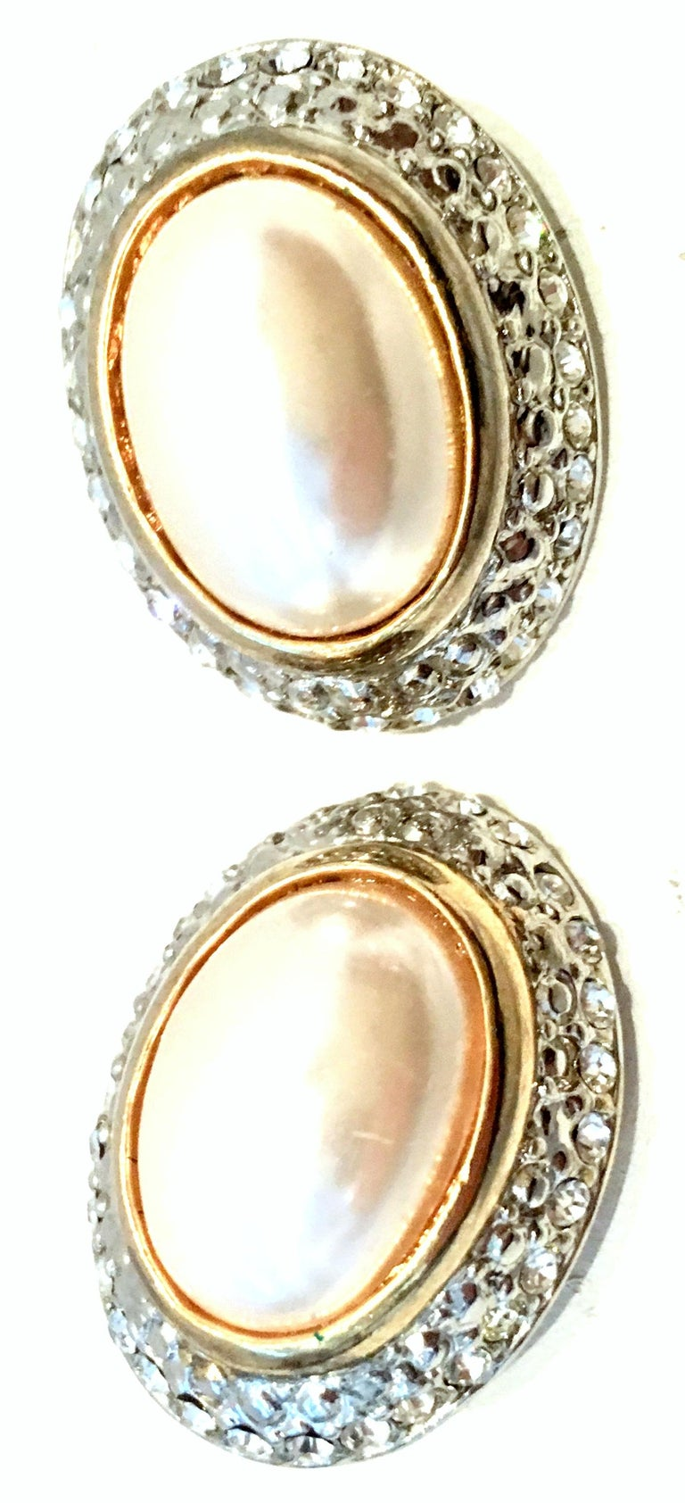20th Century Givenchy Style Pair Of Austrian Crystal & Faux Pearl Earrings For Sale 1