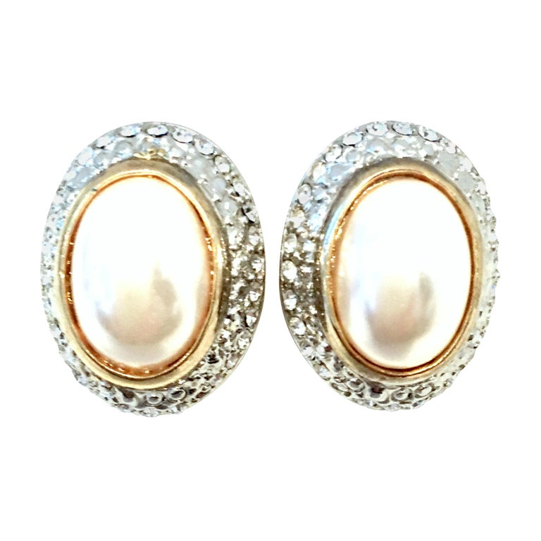 20th Century Givenchy Style Pair Of Austrian Crystal & Faux Pearl Earrings For Sale