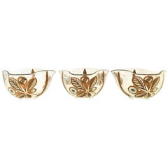 20th Century Glass & 22-Karat Gold Butterfly Bowls by Georges Briard Set of 3
