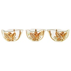 20th Century Glass and 22-Karat Gold Butterfly Bowls by Georges Briard Set of 3
