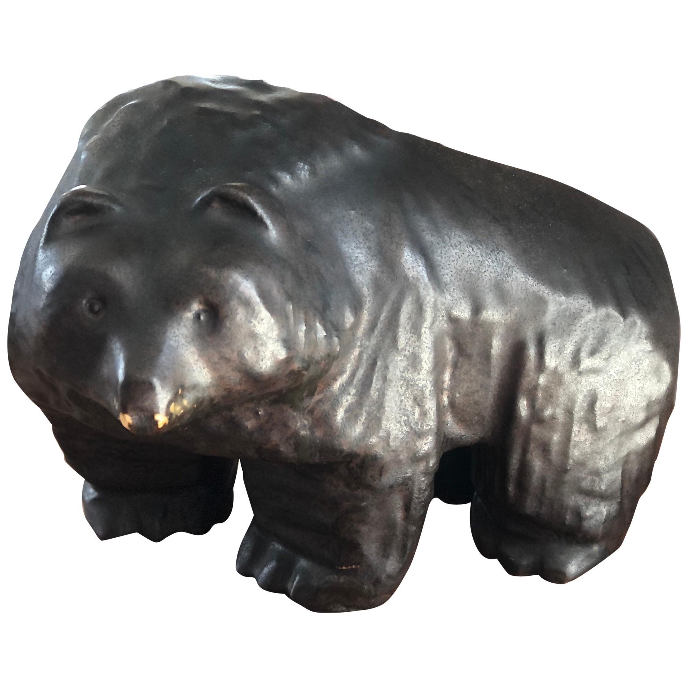20th Century Glazed Ceramic Brown Bear Sculpture by Taisto Kaasinen for Arabia