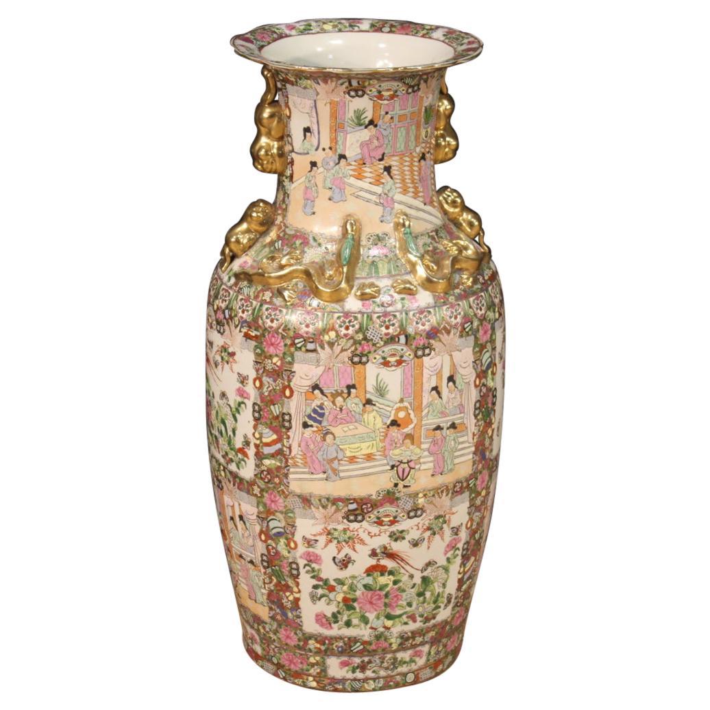 20th Century Glazed, Chiseled, Gilded, Hand-Painted Ceramic Chinese Vase, 1950