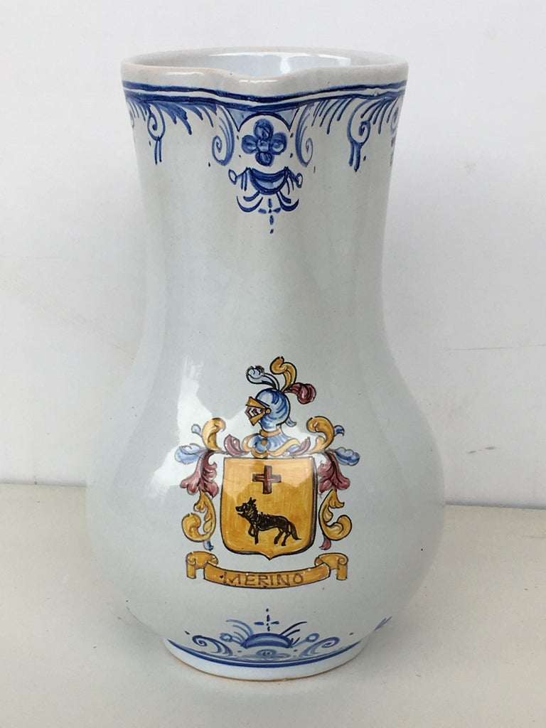 Spanish Colonial 20th Century Glazed Earthenware Blue and White Painted Pitcher, Signed Talavera For Sale
