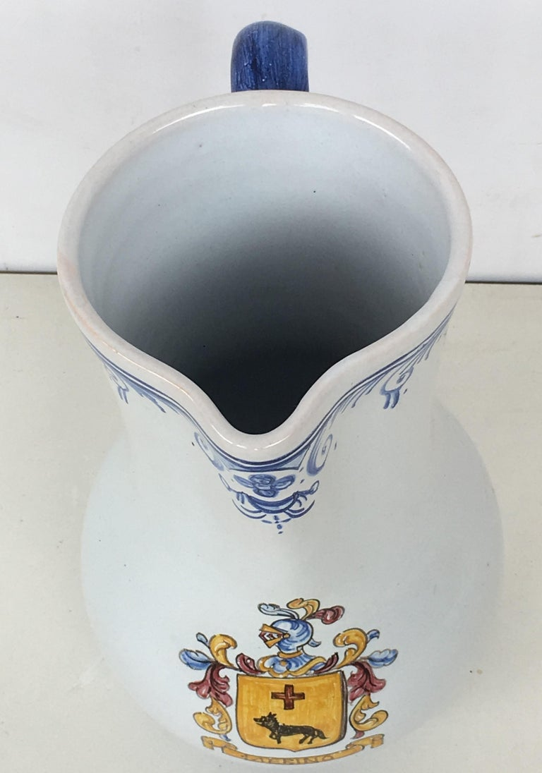 20th Century Glazed Earthenware Blue and White Painted Pitcher, Signed Talavera In Good Condition For Sale In Miami, FL